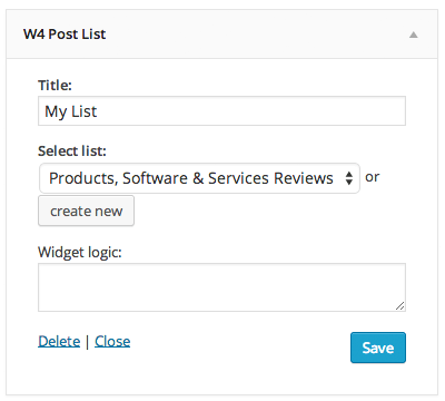 W4 Post List Widget