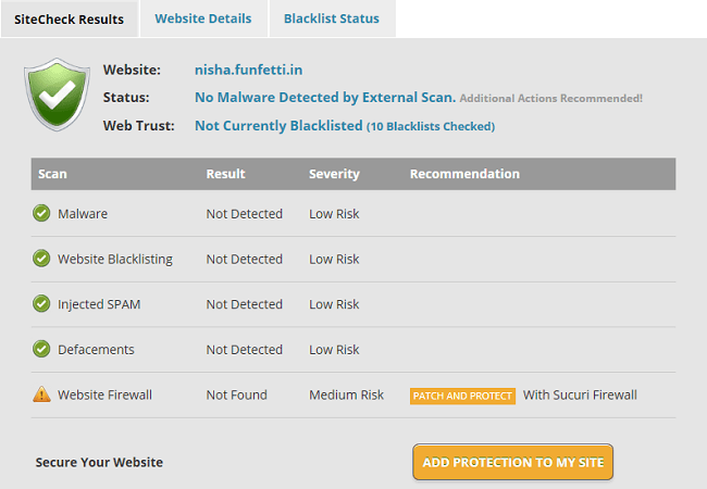 Sucuri Security site check result