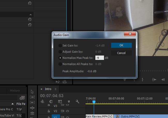 Normalising Max Peak in  Adobe Premiere Pro CC