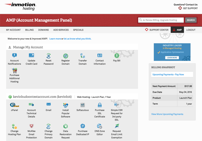 Account Management Panel