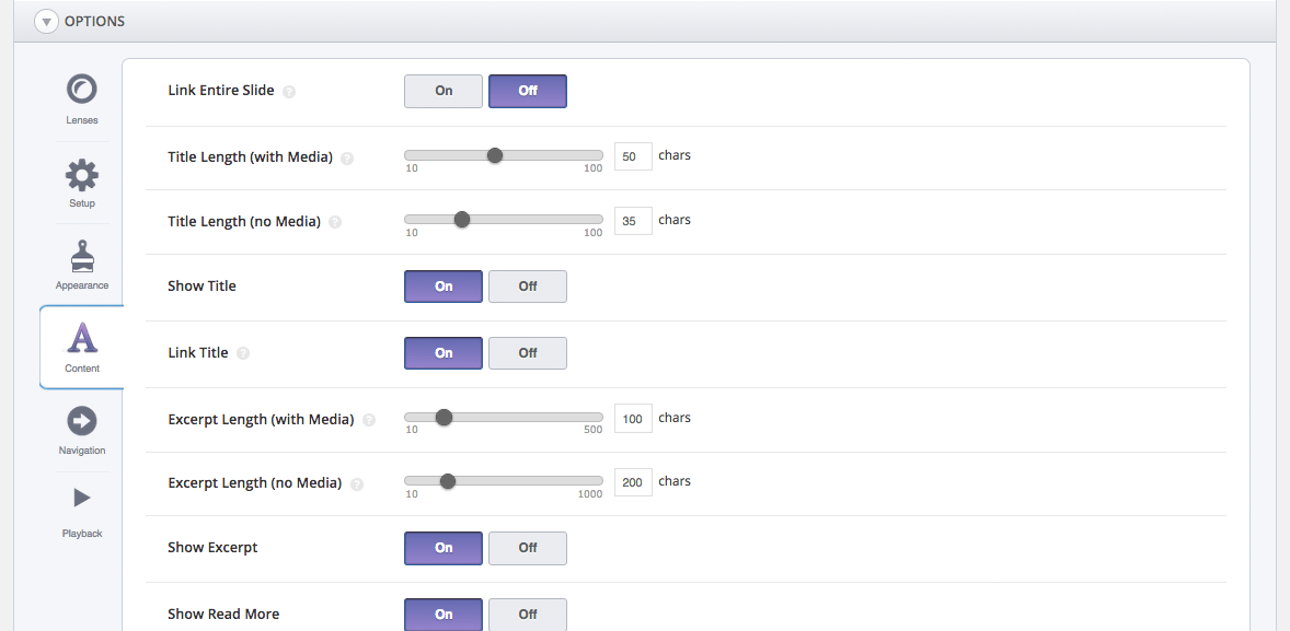 SlideDeck Options Content