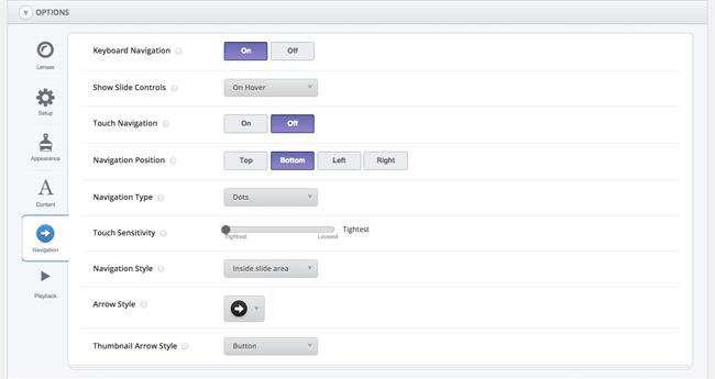 SlideDeck Options Navigation