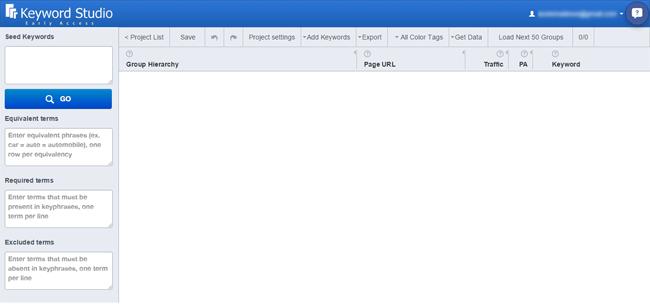 Main Dashboard of Keyword Studio