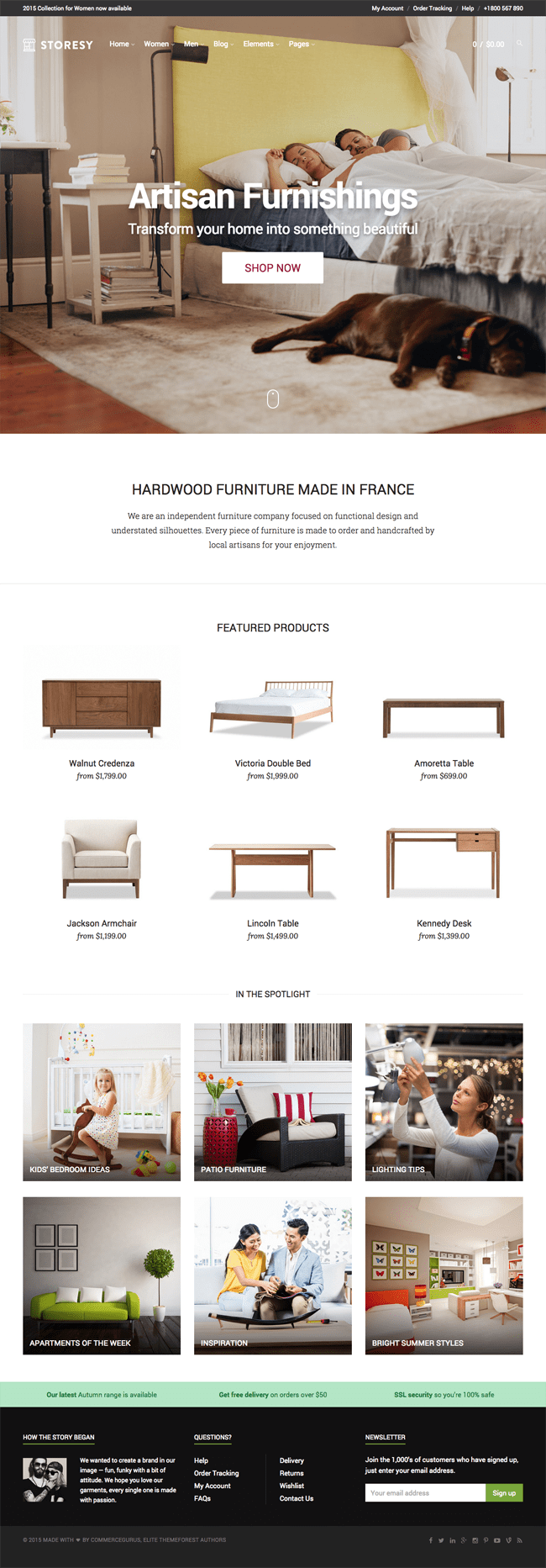 Furnishings Home Page Template