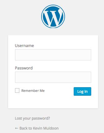 Default WordPress Login Page