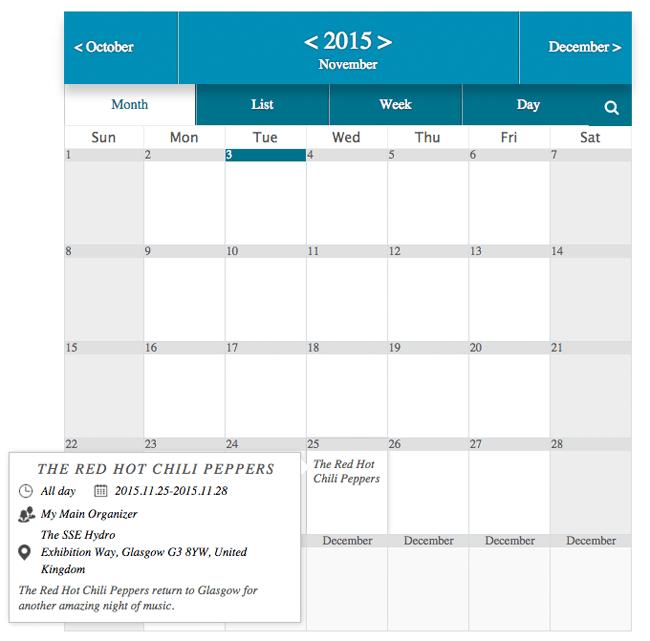 An Example of a Calendar in Event Calendar WD