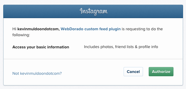 Authorise Instagram