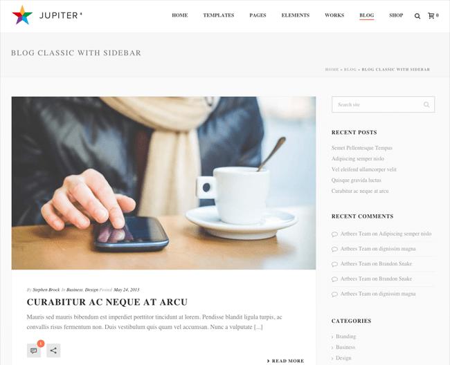 Jupiter Blog Design