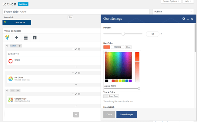 Visual Composer Editing Screen