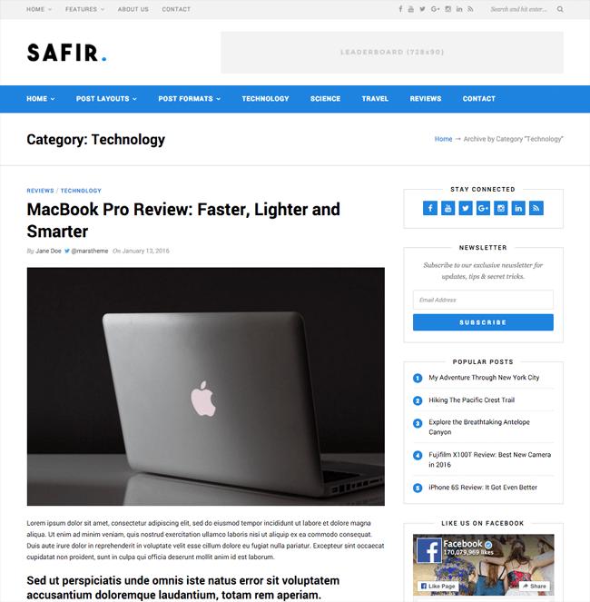 Safir WordPress Theme