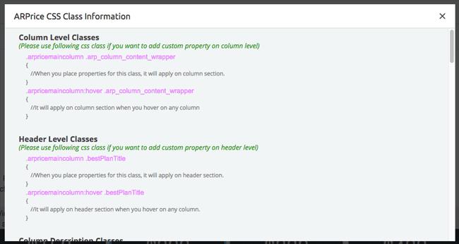 CSS Class Information