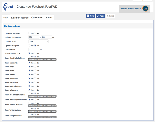 Facebook Feed WD Lightbox Settings