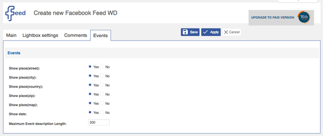 Facebook Feed WD Events Settings