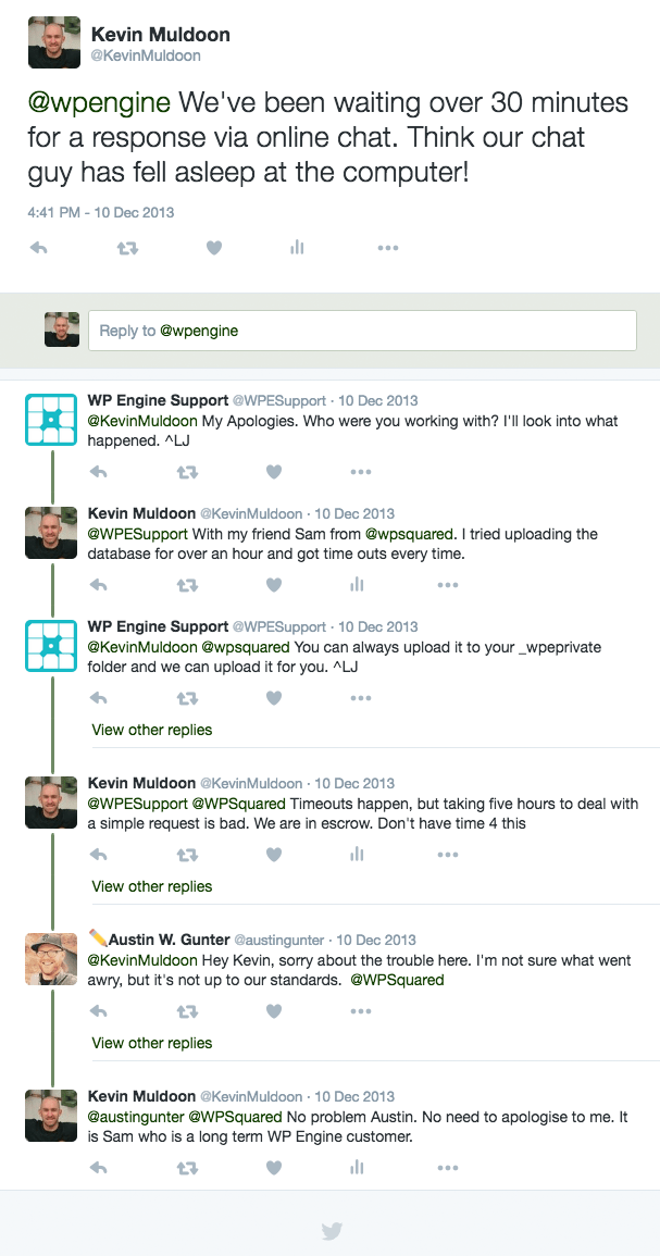 WP Engine Twitter Conversation