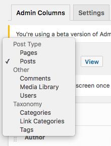 Selecting an Admin Screen