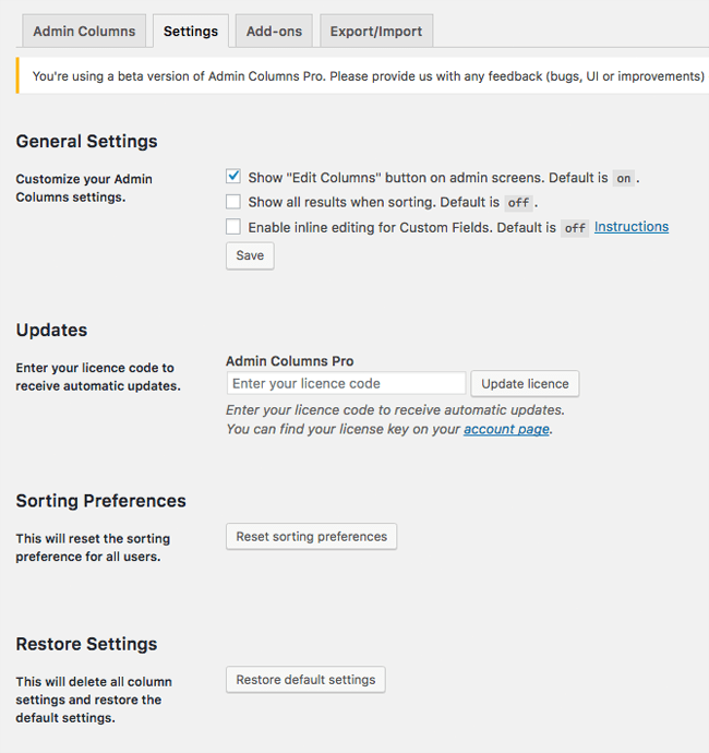 Admin Columns Pro Settings Area