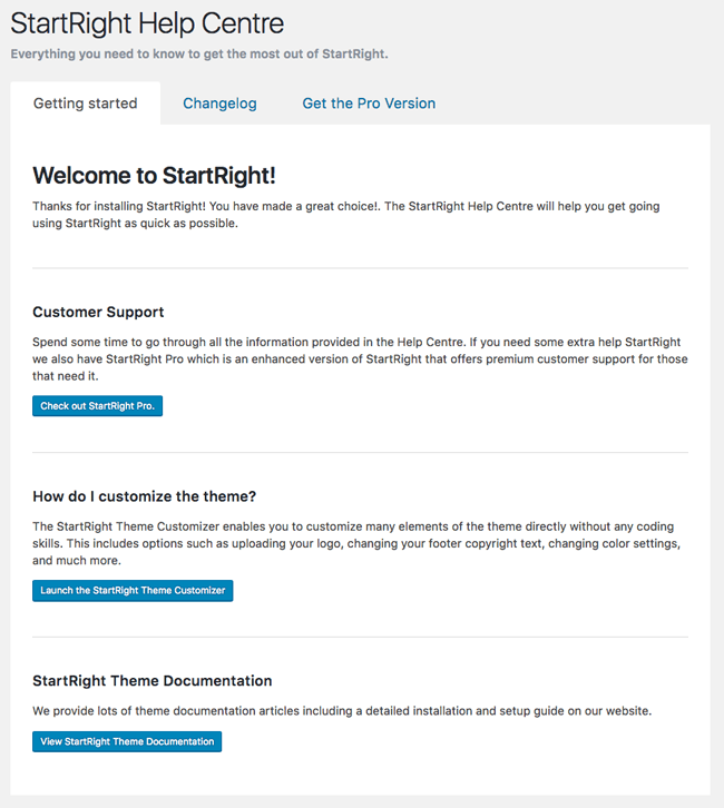 StartRight Help Page