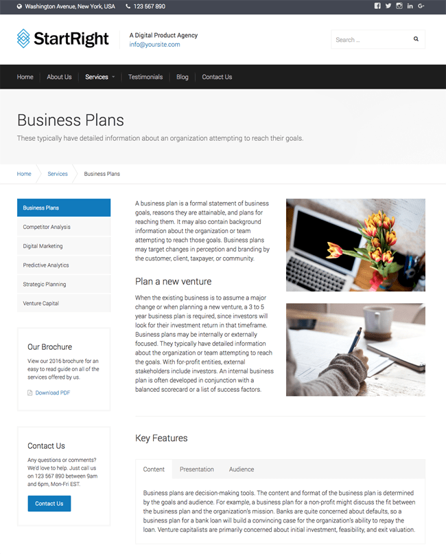 StartRight Business Plans Page