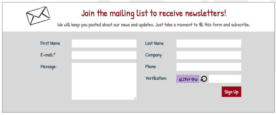 Sign Up Form with Captcha