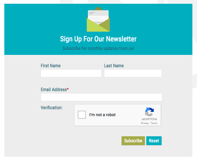 Newsletter Form with ReCaptcha