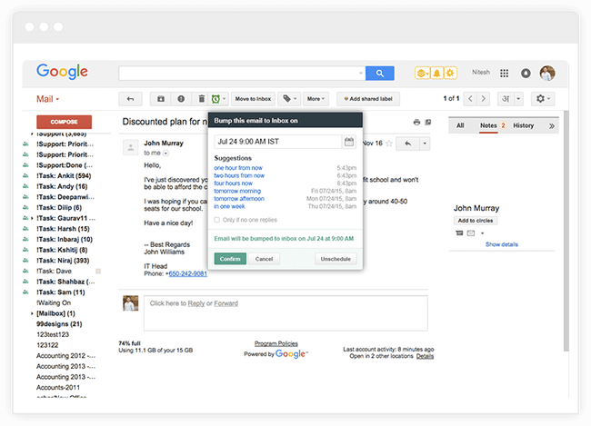 Send Email Back Into Inbox Hiver