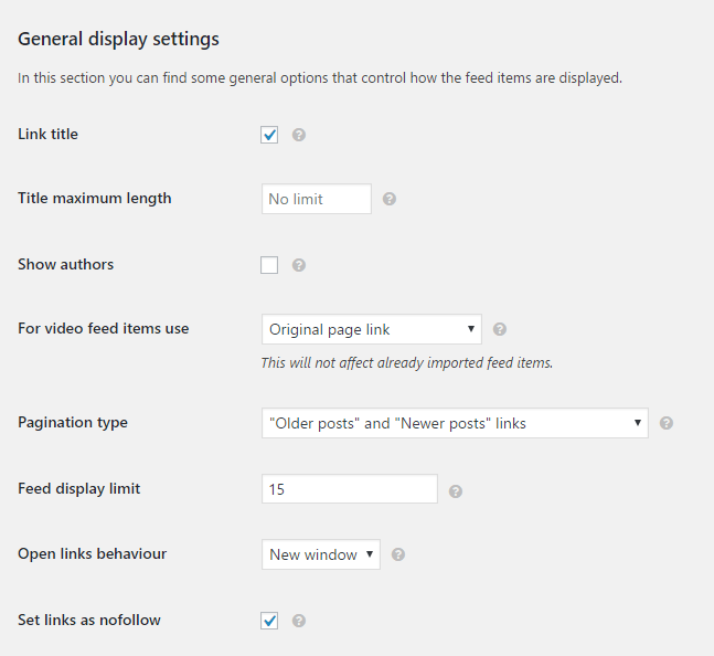 WP RSS Aggregator Settings