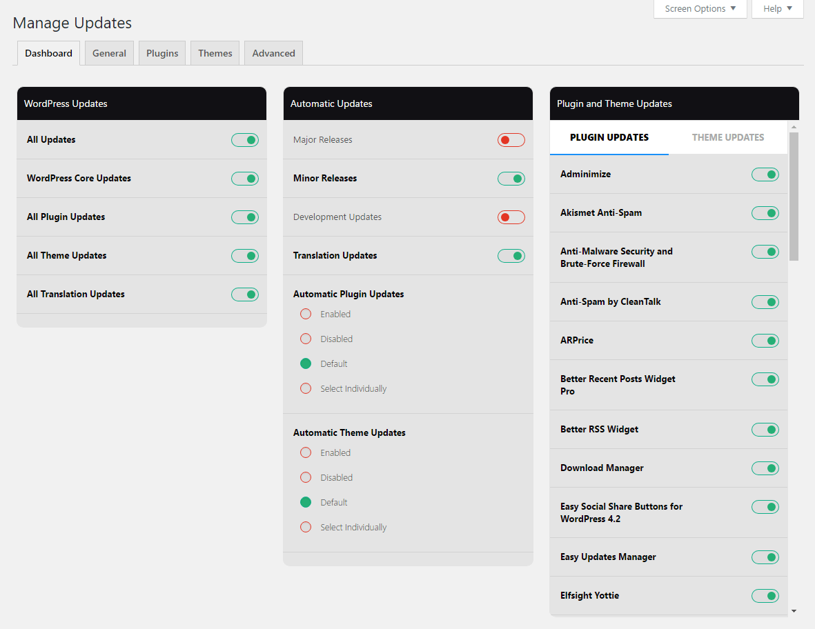 Easy Updates Manager Dashboard