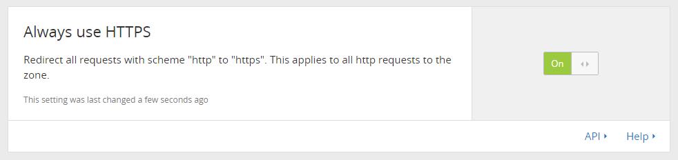 Set Always use HTTPS to On