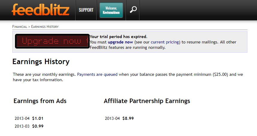 FeedBlitz Affiliate Earnings