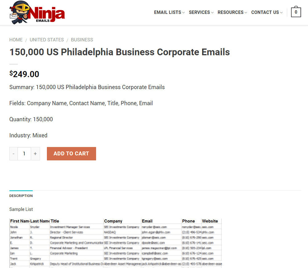 150,000 US Philadelphia Business Corporate Emails