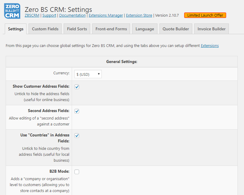 Zero BS CRM Settings
