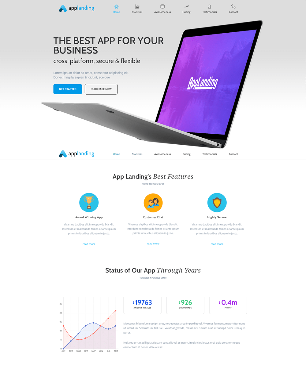 App Landing Promotion WordPress Theme