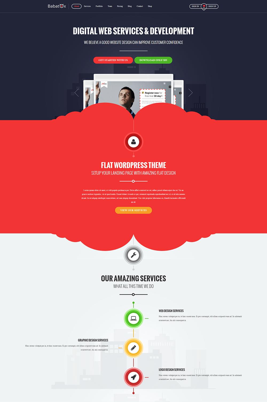 Babatox Responsive Landing Page WordPress Theme