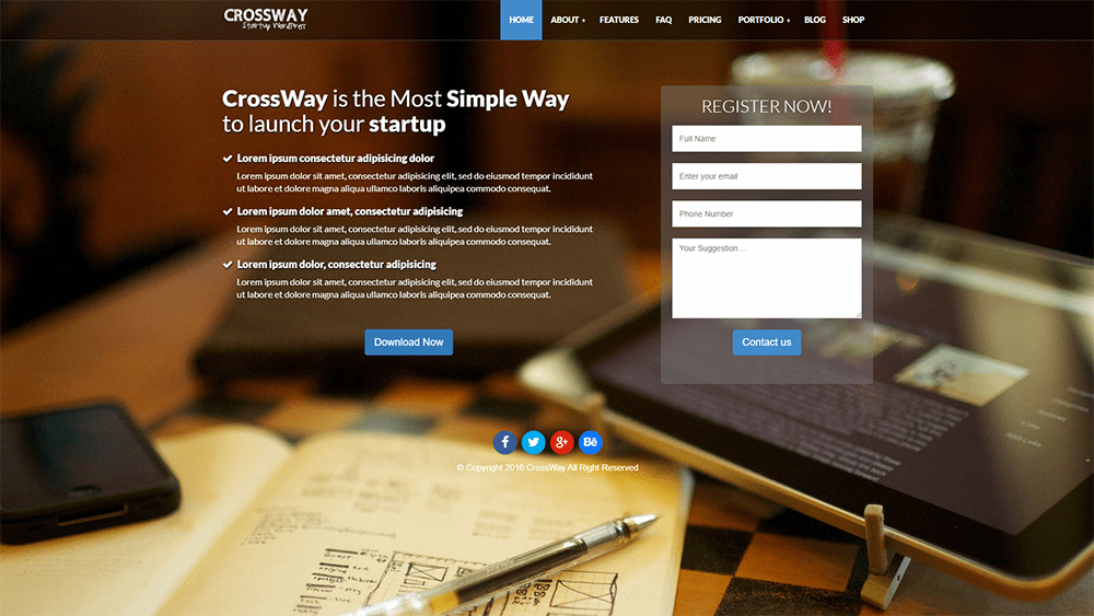 CrossWay Landing Page WordPress Theme