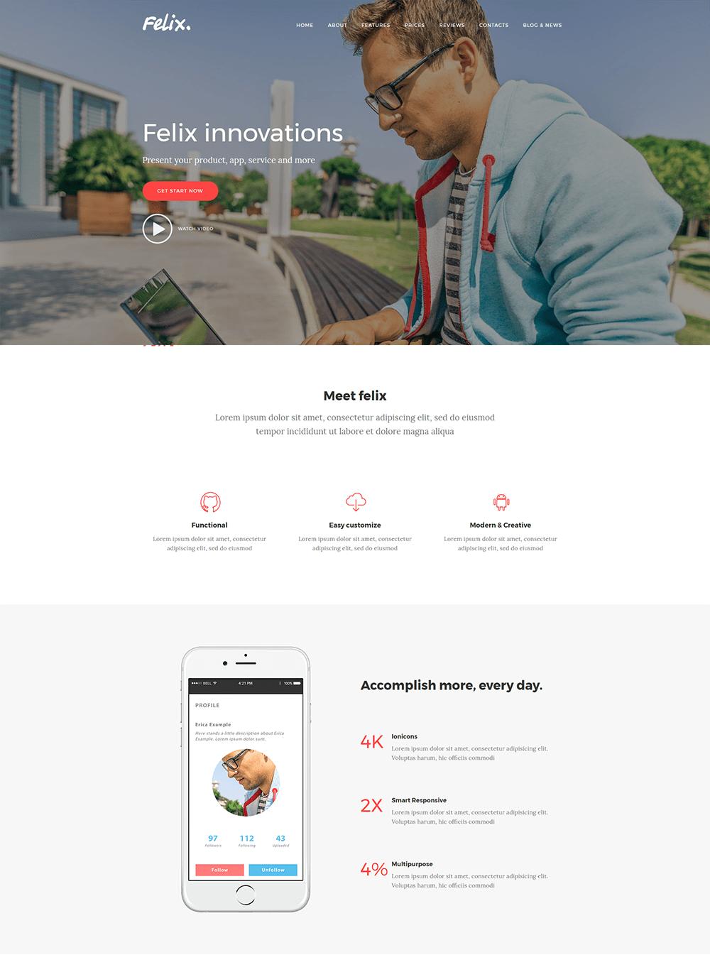 Felix Landing Page WordPress Theme