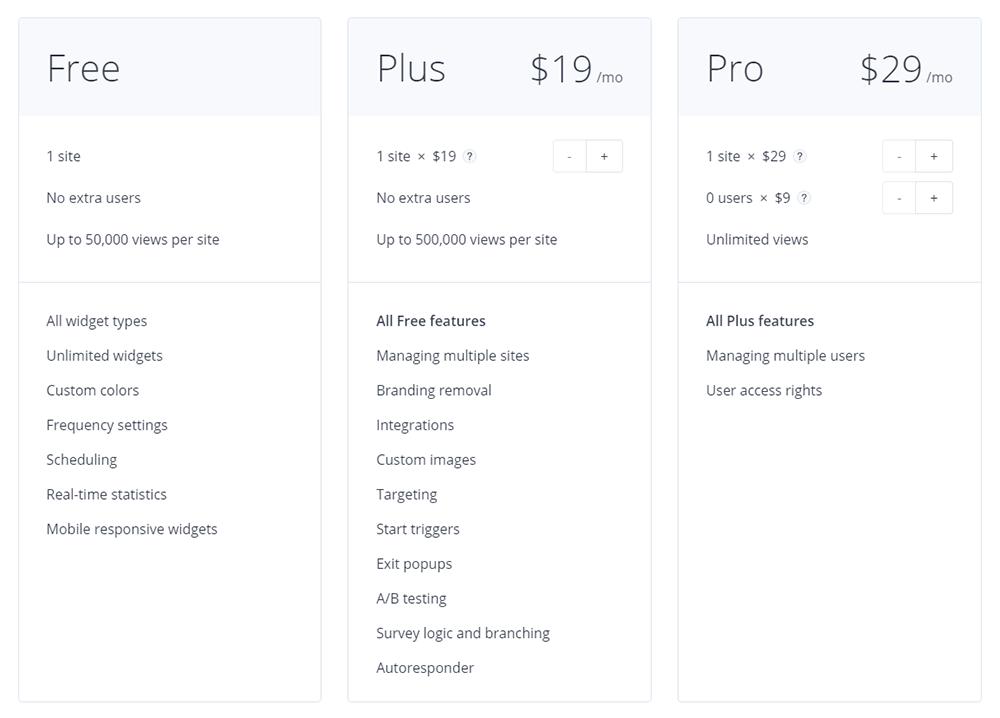 GetSiteControl Pricing