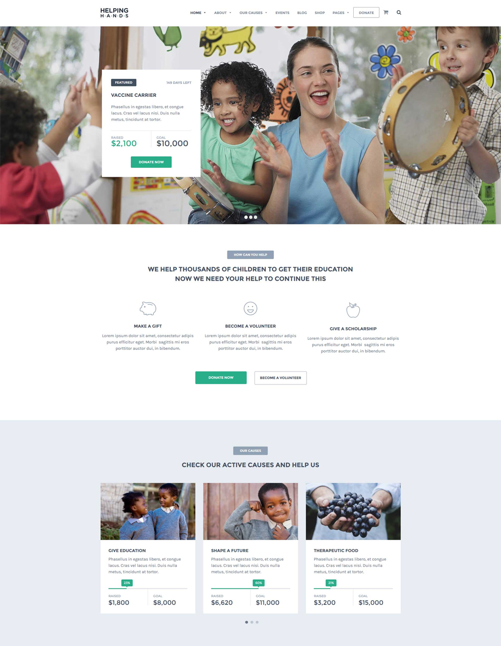 HelpingHands Charity WordPress Theme