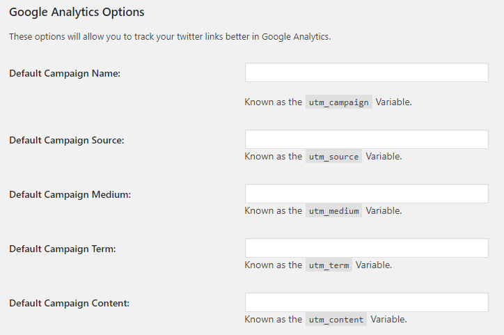 Inline Tweet Sharer Google Analytics Options
