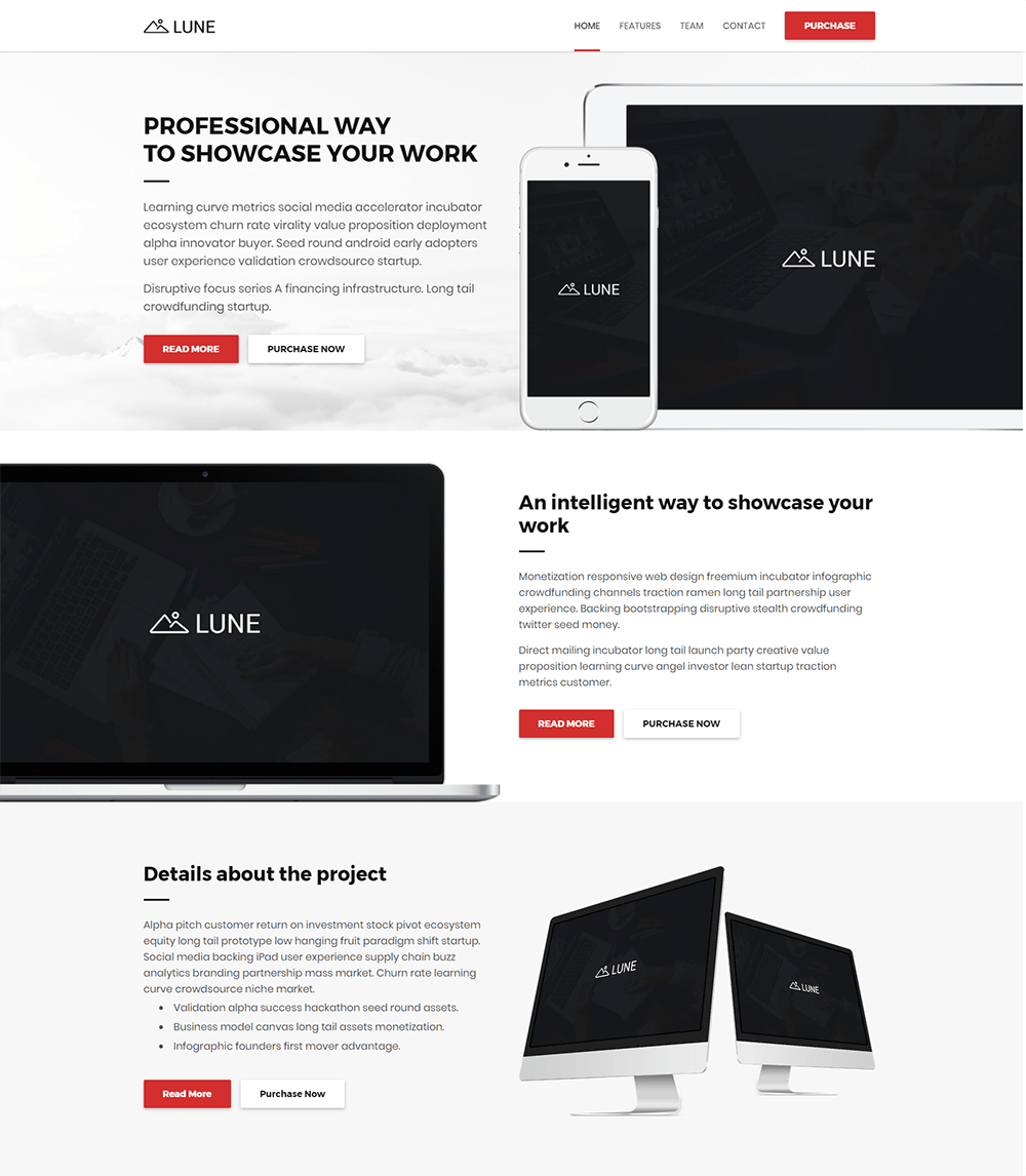 Lune Landing Pages WordPress Theme