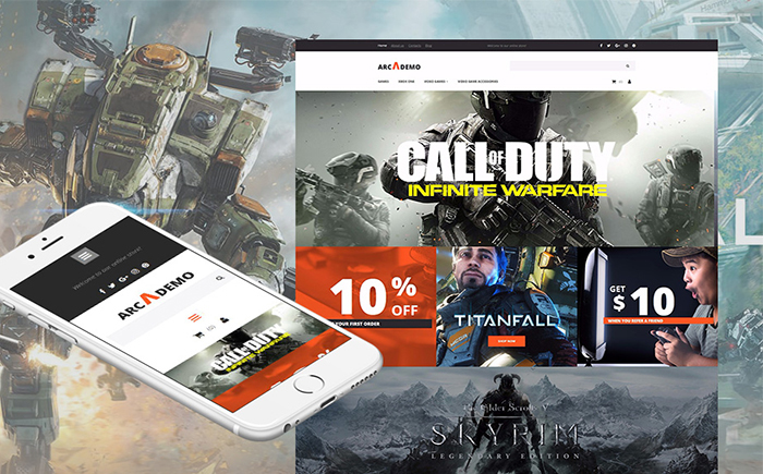 Arcademo - Video Games Shop Responsive Moto CMS Ecommerce Template
