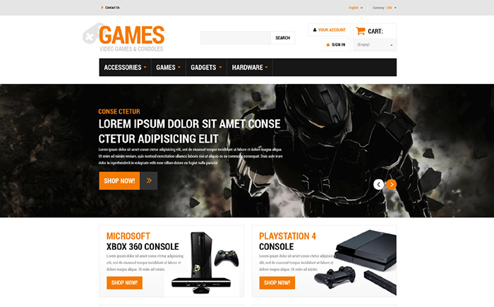 Games PrestaShop Theme