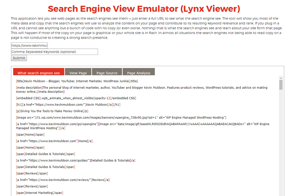 Search Engine View Emulator