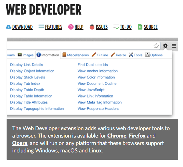 Web Developer Extension