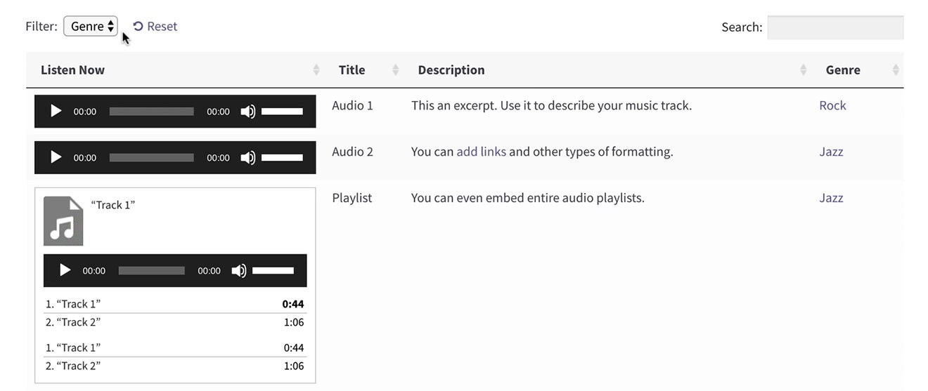 Screenshot of a sortable WordPress audio library