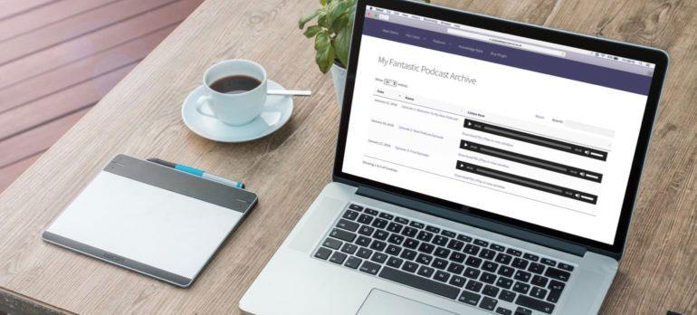 Laptop showing a WordPress audio plugin