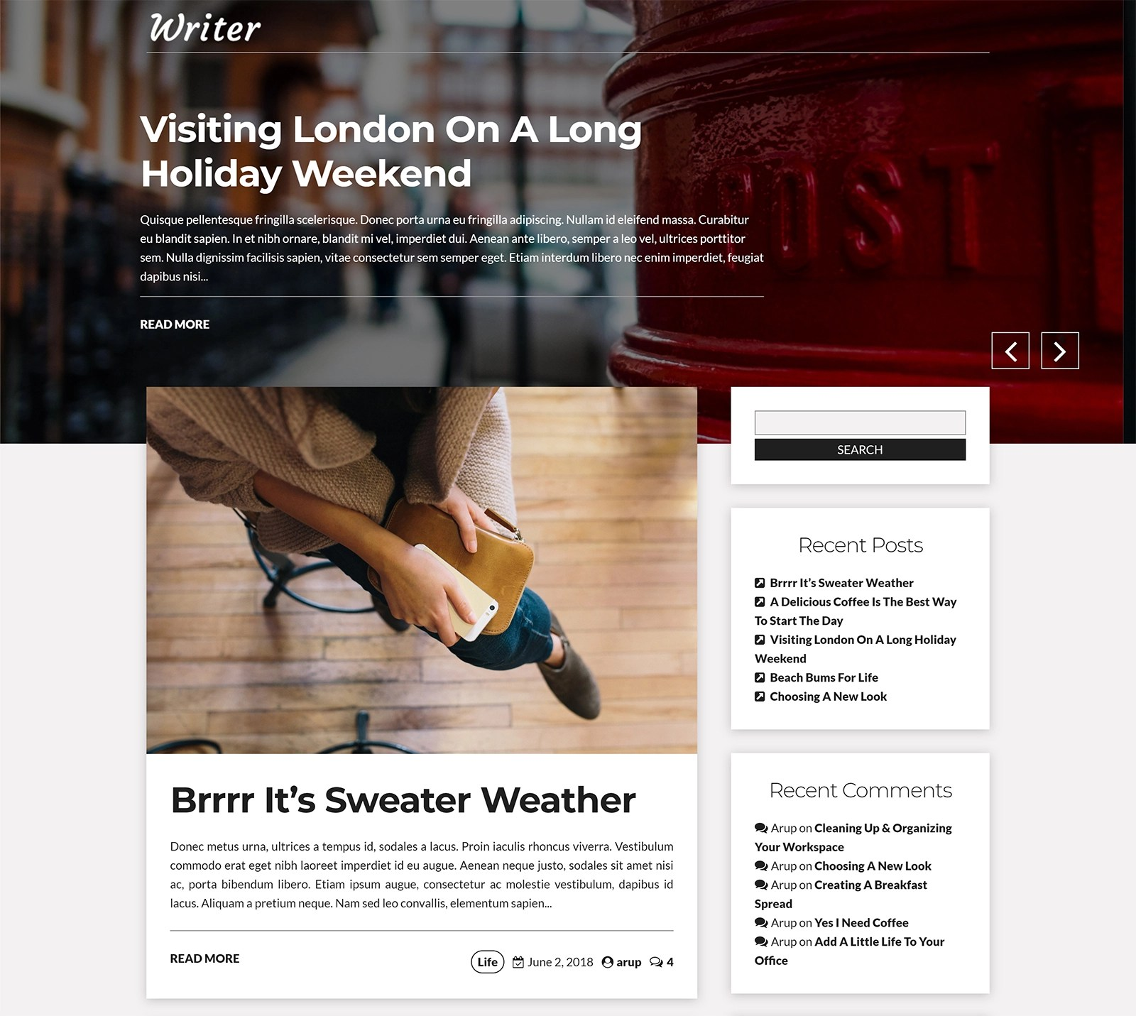 Writer Blog WordPress Theme