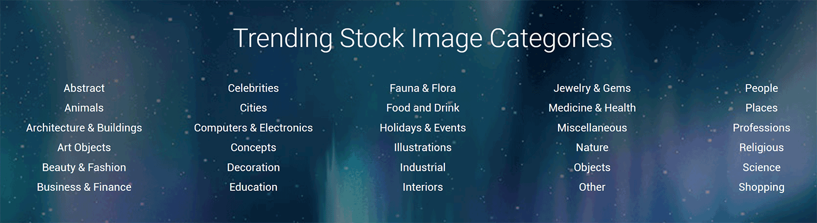 Stock Image Categories