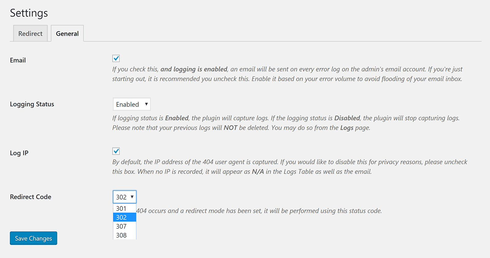 General Settings for Custom 404 Pro