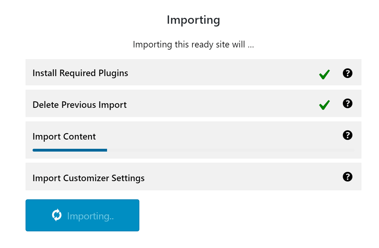 Importing Ready Website