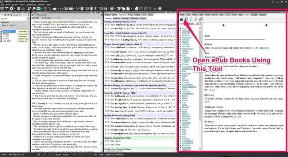 Add ePub books by opening from the ePub tab in the right most window panes.